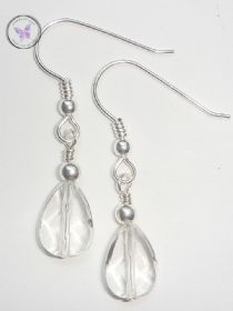 Clear Quartz Faceted Drop Earrings
